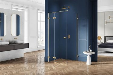 kabina prysznicowa złote okucia