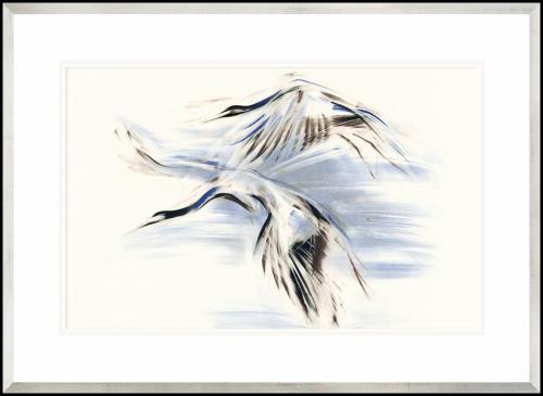 grafika żuraw z rozpostartymi skrzydłami